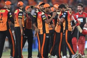 Follow highlights of Sunrisers Hyderabad vs Royal Challengers Bangalore, IPL 2018 here. SRH cricketers celebrate after their win over RCB in the Indian Premier League encounter in Hyderabad on Monday.