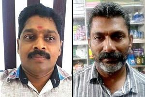 A combination photos of RSS worker Shanej P (left) and CPM's Babu Kannipoyil, who were killed in violence in Kannur.