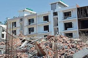 The underconstruction four-storeyed building was coming up at Peer Muchalla inZirakpur. It collapsed onApril 12.