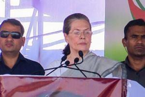 UPA chairperson and former Congress president Sonia Gandhi addresses a rally in Vijayapura district.