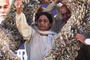 BSP supremo Mayawati being presented a garland of currency notes at party headquarters in Lucknow.