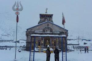 A view of the Kedarnath temple amid heavy snowfall in Uttarakhand
