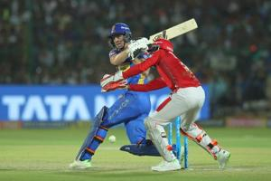 Jos Buttler of Rajasthan Royals bats during their Indian Premier League 2018 match against Kings XI Punjab in Jaipur on Tuesday.