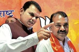 Former Congress leader Rajendra Dhedya Gavit (right) from Palghar joined the BJP on Tuesday.