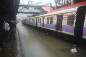 Local trains stranded at Byculla station after train services on all three lines came to a halt onAugust 29, 2017.