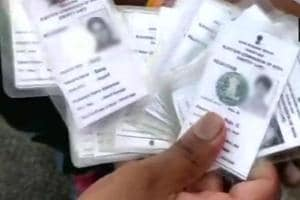 Huge number of voter ID cards found at an apartment in Jalahalli area.