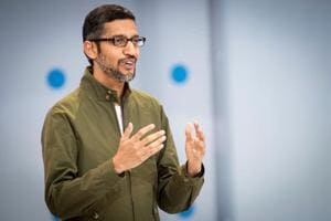 Sundar Pichai, CEO of Google speaks during the Google I/O Developers Conference in Mountain View.