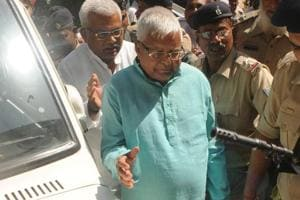File photo of former railway minister Lalu Prasad outside a special CBI court.
