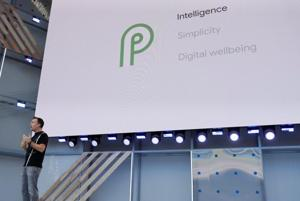 Dave Burke, VP of engineering, Android, speaks on stage during the annual Google I/O developers conference.
