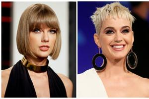 A combination photo shows singers Taylor Swift (L) and Katy Perry (R).