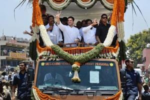 Congress president Rahul Gandhi at a road show at Gauribidanur in Chikkaballapur, Karnataka.