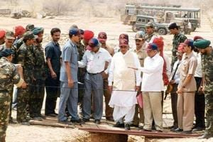 The then Prime Minister Atal Bihari Vajpayee at the underground nuclear explosion test sites at Pokhran in Rajasthan.