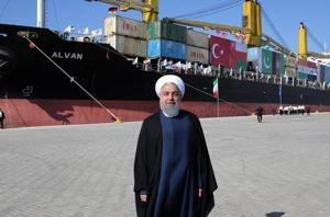A handout picture provided by the office of Iranian President Hassan Rouhani on December 3, 2017 shows him inaugurating the first phase of Chabahar Port.