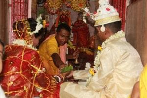 Sulekha Mahato and Dilip Mahato, who surrendered as Maoists in 2016, got married at a temple in Karnagarh, about 10km from Midnapore town.