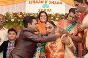 Trans-sexuals Ishaan and Surya tie the knot at a private club in Thiruvananthapuram on Thursday.