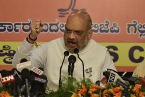 Amit Shah addressing a press conference in Bengaluru on May 10.