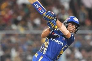 Mumbai Indians' Ishan Kishan hits a six during his match-winning innings in the 2018 Indian Premier League (IPL 2018) match against Kolkata Knight Riders at the Eden Gardens in Kolkata on Wednesday.