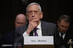 U.S. Secretary of Defense James Mattis testifies before the Senate Armed Services Committee April 26, 2018 in Washington, DC.