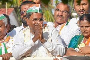 Karnataka chief minister Siddaramaiah during a roadshow in Chamundeshwari on May 10.