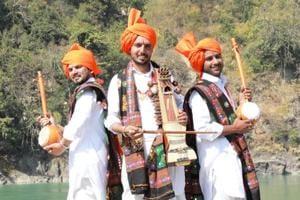 "From left: Haryanavi folk artist Somvir Kathurwal, Somesh Jangra and Shyam Lal Sharma during the shooting of Haryanavi folk song ""Ganga Ji""."