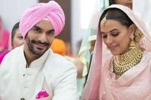 Neha Dhupia and Angad Bedi married in a private ceremony on Thursday.