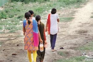 More than 100 girl students living here have to go near a nullah (drain), about 2 km from the hostel, to relieve themselves due to water scarcity in the hostel, said the warden.