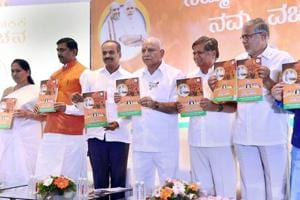 Bharatiya Janata Party leaders release the party