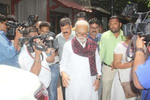 Senior NCP leader Chhagan Bhujbal leaves party chief Sharad Pawar's residence at Silver Oak on Friday.