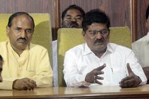 DP Pawar (left) and Vinayak Patil at a press conference at Katraj Dairy on Thursday.