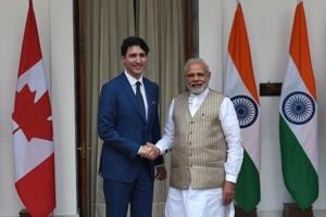 Canadian Prime Minister Justin Trudeau (L) and Indian Prime Minister Narendra Modi before a meeting at Hyderabad house, New Delhi, February 23, 2018