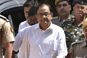 Former finance minister P Chidambaram coming out of Patiala House Court in New Delhi.