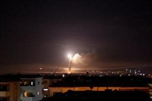Missile fire is seen from Damascus, Syria.