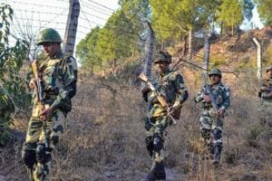 Border Security Force jawans patrol near Line of Control in Poonch