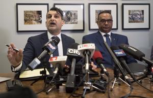 Jaspal Atwal (right) with his lawyer Rishi T Gill at a news conference in Vancouver on March, 8, 2018.
