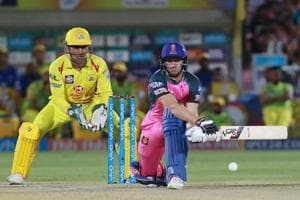Rajasthan Royals' Jos Buttler in action against Chennai Super Kings in an Indian Premier League (IPL) 2018 match at the Sawai Mansingh Stadium in Jaipur on Saturday.