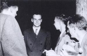 Richard Feynman at Los Alamos, New Mexico, where he was roped in along with other brilliant minds to develop an atomic bomb for use in World War 2. When the bomb was ultimately used, against Japan, it filled him with regret over his work.