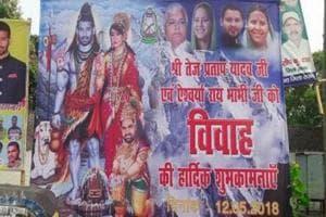 The billboard showing Tej Pratap and Aishwarya Rai as Shiva and Parvati, inPatna.