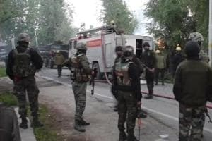 Visuals from encounter underway between terrorists and security forces in Pulwama. (Visuals deferred by unspecified time)