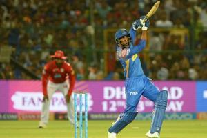 Rajasthan Royals batsman Krishnappa Gowtham hits a six during the 2018 Indian Premier League (IPL 2018) match against Kings XI Punjab at the Sawai Mansingh Stadium in Jaipur on May 8.
