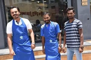 Rishabh Sitoke (left) began his venture HandyBro, a service that provides chefs to the customer, in June 2016.