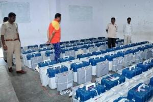 EVMs being stored in a strongroom at Chikmagalur in Karnataka on Sunday.