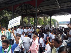 Local NCP workers started protesting at Anandnagar toll plaza in Mulund around 10am on Monday. They said they would continue the protest through the day.