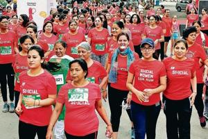 Participants during the all women special marathon 'Social Women 10k Run' organised by Chandigarh Runners on the occasion of Mother's Day on Sunday.