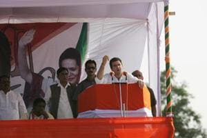 Rahul Gandhi addresses an election rally in Raipur, Chhattisgarh.
