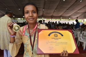 Bhopal, India - May 14, 2018:Shivani Pawar (18), humanities topper in the Class 12 board exams in Bhopal, India, on Monday, May 14, 2018.