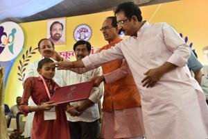 Bhopal, India - May 14, 2018: Deeksha Sharma is the topper in the specially-abled category in the MP Board's Class 10 exam in Bhopal, India, on Monday, May 14, 2018.
