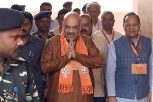 BJP national president Amit Shah arrives to attend the BJP national office bearers and state presidents meeting at the party headquarter in New Delhi on May 14.