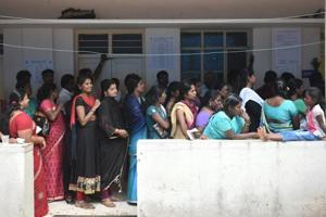Voters wait in queue to cast their vote during Karnataka assembly elections on May 12.  A survey by Centre for Media Studies says the Karnataka polls were the most expensive ever in terms of money spent by parties and candidates.