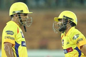 MSDhoni had a light moment with Ravindra Jadeja in Chennai Super Kings' win over Sunrisers Hyderabad that helped them reach the knock-out stages.