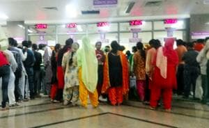 Patients queued up outside the OPD at the Kalpana Chawla Government Medical College and Hospital in Karnal.